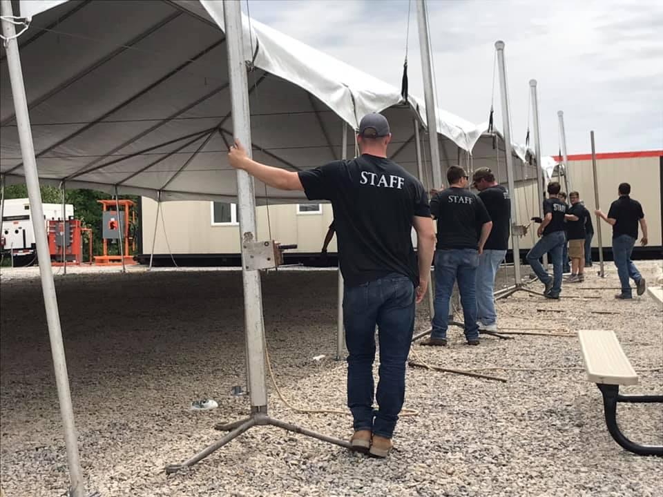 jumbotrac tent staff setup