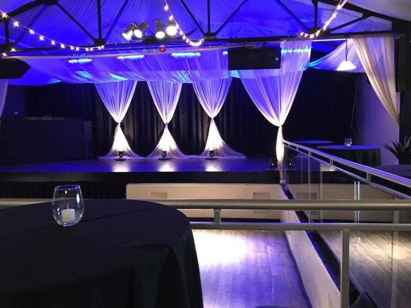 entertainment room white drapery