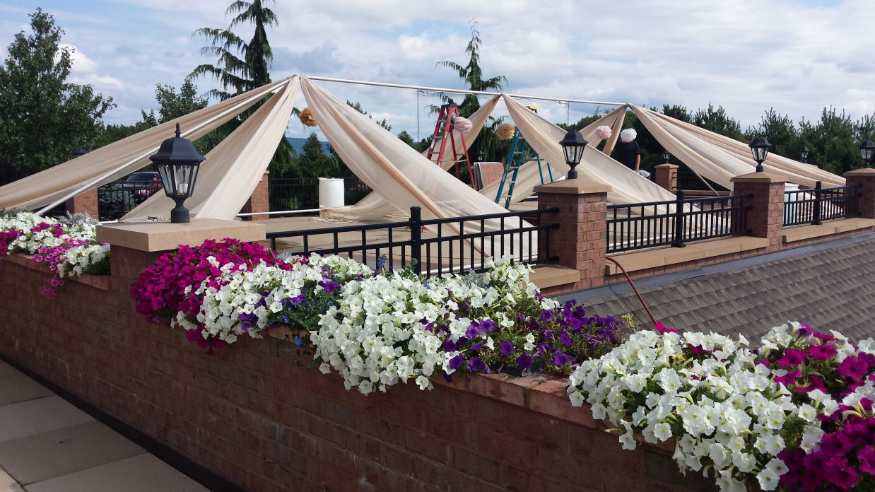 outdoor tent with flowers